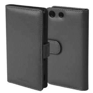 Cadorabo Hülle für Sony Xperia M5 in OXID SCHWARZ ? Handyhülle mit Magnetverschluss und 3 Kartenfächern ? Case Cover Schutzhülle Etui Tasche Book Klapp Style
