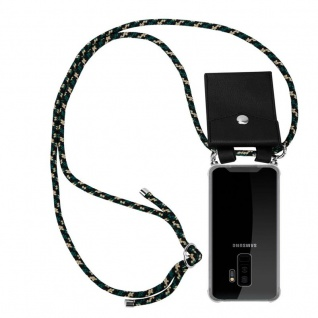 Cadorabo Handy Kette für Samsung Galaxy S9 PLUS in CAMOUFLAGE - Silikon Necklace Umhänge Hülle mit Silber Ringen, Kordel Band Schnur und abnehmbarem Etui - Schutzhülle