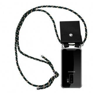 Cadorabo Handy Kette für Samsung Galaxy S9 PLUS in CAMOUFLAGE Silikon Necklace Umhänge Hülle mit Silber Ringen, Kordel Band Schnur und abnehmbarem Etui Schutzhülle