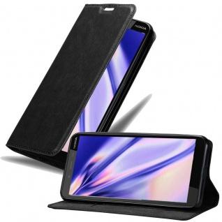Cadorabo Hülle für Nokia 1 PLUS in NACHT SCHWARZ Handyhülle mit Magnetverschluss, Standfunktion und Kartenfach Case Cover Schutzhülle Etui Tasche Book Klapp Style
