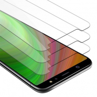 Cadorabo 3x Panzer Folie für Samsung Galaxy A6 2018 - Schutzfolie in KRISTALL KLAR - 3er Pack Gehärtetes (Tempered) Display-Schutzglas in 9H Härte mit 3D Touch Kompatibilität