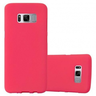 Cadorabo Hülle für Samsung Galaxy S8 PLUS - Hülle in FROST ROT ? Handyhülle aus TPU Silikon im matten Frosted Design - Ultra Slim Soft Backcover Case Bumper