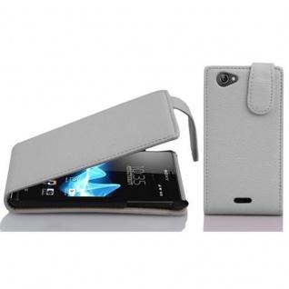 Cadorabo Hülle für Sony Xperia J in MAGNESIUM WEIß - Handyhülle im Flip Design aus strukturiertem Kunstleder - Case Cover Schutzhülle Etui Tasche Book Klapp Style