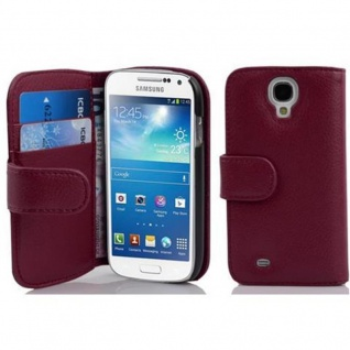 Cadorabo Hülle für Samsung Galaxy S4 MINI - Hülle in BORDEAUX LILA ? Handyhülle mit Kartenfach aus struktriertem Kunstleder - Case Cover Schutzhülle Etui Tasche Book Klapp Style
