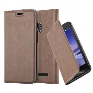 Cadorabo Hülle für Asus ZenFone 5 2014 in KAFFEE BRAUN - Handyhülle mit Magnetverschluss, Standfunktion und Kartenfach - Case Cover Schutzhülle Etui Tasche Book Klapp Style