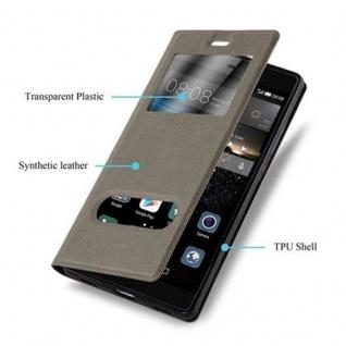 Cadorabo Hülle für Huawei P8 in STEIN BRAUN - Handyhülle mit Magnetverschluss, Standfunktion und 2 Sichtfenstern - Case Cover Schutzhülle Etui Tasche Book Klapp Style - Vorschau 2