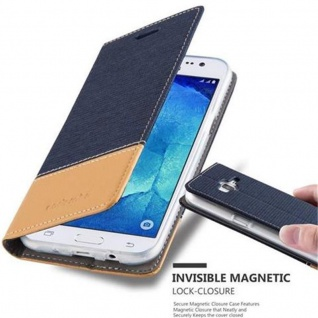 Cadorabo Hülle für Samsung Galaxy J5 2015 in DUNKEL BLAU BRAUN - Handyhülle mit Magnetverschluss, Standfunktion und Kartenfach - Case Cover Schutzhülle Etui Tasche Book Klapp Style