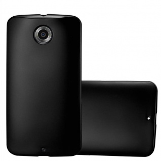 Cadorabo Hülle für Motorola NEXUS 6 in METALLIC SCHWARZ - Handyhülle aus flexiblem TPU Silikon - Silikonhülle Schutzhülle Ultra Slim Soft Back Cover Case Bumper