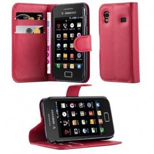 Cadorabo Hülle für Samsung Galaxy ACE 1 in KARMIN ROT - Handyhülle mit Magnetverschluss, Standfunktion und Kartenfach - Case Cover Schutzhülle Etui Tasche Book Klapp Style