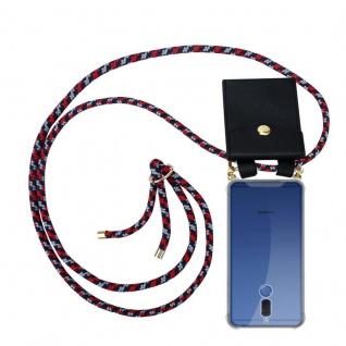 Cadorabo Handy Kette für Huawei MATE 10 LITE in ROT BLAU WEISS - Silikon Necklace Umhänge Hülle mit Gold Ringen, Kordel Band Schnur und abnehmbarem Etui ? Schutzhülle