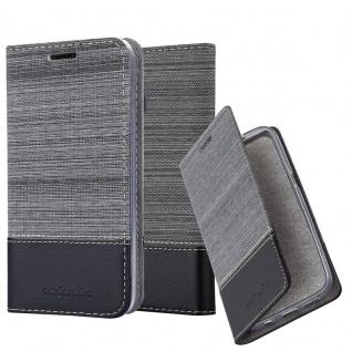 Cadorabo Hülle für Samsung Galaxy M20 in GRAU SCHWARZ - Handyhülle mit Magnetverschluss, Standfunktion und Kartenfach - Case Cover Schutzhülle Etui Tasche Book Klapp Style