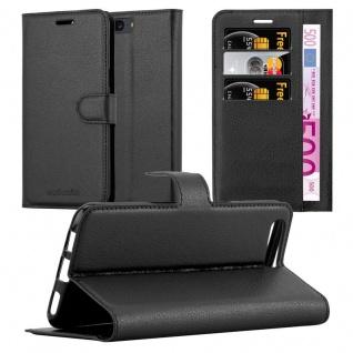 Cadorabo Hülle für OnePlus 5 in PHANTOM SCHWARZ Handyhülle mit Magnetverschluss, Standfunktion und Kartenfach Case Cover Schutzhülle Etui Tasche Book Klapp Style