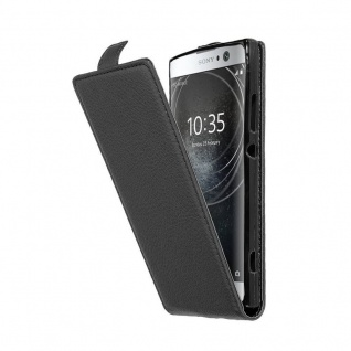 Cadorabo Hülle für Sony Xperia XA2 in OXID SCHWARZ - Handyhülle im Flip Design aus strukturiertem Kunstleder - Case Cover Schutzhülle Etui Tasche Book Klapp Style