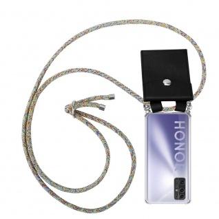 Cadorabo Handy Kette für Honor 30 in RAINBOW Silikon Necklace Umhänge Hülle mit Silber Ringen, Kordel Band Schnur und abnehmbarem Etui Schutzhülle