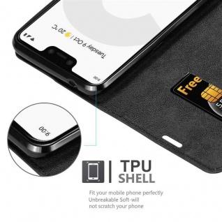 Cadorabo Hülle für Google Pixel 3 in NACHT SCHWARZ - Handyhülle mit Magnetverschluss, Standfunktion und Kartenfach - Case Cover Schutzhülle Etui Tasche Book Klapp Style - Vorschau 2