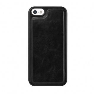 Cadorabo Hülle für Apple iPhone 5 / iPhone 5S / iPhone SE - Hülle in KOHLEN SCHWARZ - Handyhülle im 2-in-1 Design mit Standfunktion und Kartenfach - Hard Case Book Etui Schutzhülle Tasche Cover - Vorschau 4