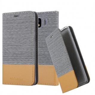 Cadorabo Hülle für Samsung Galaxy J4 2018 in HELL GRAU BRAUN - Handyhülle mit Magnetverschluss, Standfunktion und Kartenfach - Case Cover Schutzhülle Etui Tasche Book Klapp Style
