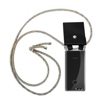 Cadorabo Handy Kette für Huawei NOVA 2 in RAINBOW Silikon Necklace Umhänge Hülle mit Silber Ringen, Kordel Band Schnur und abnehmbarem Etui Schutzhülle