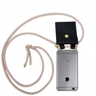 Cadorabo Handy Kette für Apple iPhone 6 PLUS / iPhone 6S PLUS in PERLIG ROSÉGOLD - Silikon Necklace Umhänge Hülle mit Gold Ringen, Kordel Band Schnur und abnehmbarem Etui ? Schutzhülle