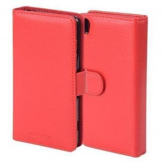 Cadorabo Hülle für Sony Xperia Z5 in INFERNO ROT - Handyhülle mit Magnetverschluss und 3 Kartenfächern - Case Cover Schutzhülle Etui Tasche Book Klapp Style