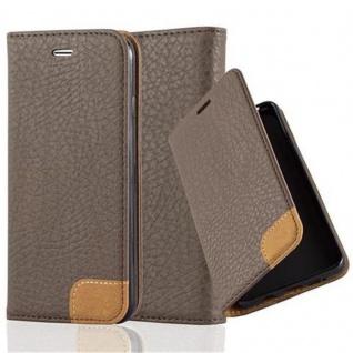 Cadorabo Hülle für Apple iPhone 6 / iPhone 6S - Hülle in ERD BRAUN - Handyhülle mit Standfunktion, Kartenfach und Textil-Patch - Case Cover Schutzhülle Etui Tasche Book Klapp Style