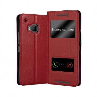 Cadorabo Hülle für HTC One M9 in SAFRAN ROT - Handyhülle mit Magnetverschluss, Standfunktion und 2 Sichtfenstern - Case Cover Schutzhülle Etui Tasche Book Klapp Style