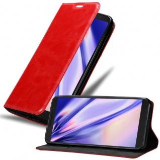 Cadorabo Hülle für Alcatel 3V in APFEL ROT Handyhülle mit Magnetverschluss, Standfunktion und Kartenfach Case Cover Schutzhülle Etui Tasche Book Klapp Style