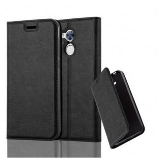 Cadorabo Hülle für Honor 6A in NACHT SCHWARZ - Handyhülle mit Magnetverschluss, Standfunktion und Kartenfach - Case Cover Schutzhülle Etui Tasche Book Klapp Style