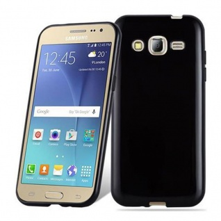 Cadorabo Hülle für Samsung Galaxy J2 2015 in SCHWARZ - Handyhülle aus flexiblem TPU Silikon - Silikonhülle Schutzhülle Ultra Slim Soft Back Cover Case Bumper