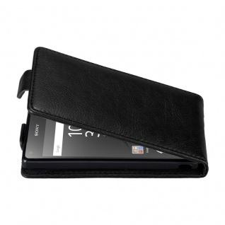 Cadorabo Hülle für Sony Xperia Z5 COMPACT in NACHT SCHWARZ - Handyhülle im Flip Design mit unsichtbarem Magnetverschluss - Case Cover Schutzhülle Etui Tasche Book Klapp Style