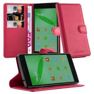 Cadorabo Hülle für OnePlus ONE 2 in KARMIN ROT - Handyhülle mit Magnetverschluss, Standfunktion und Kartenfach - Case Cover Schutzhülle Etui Tasche Book Klapp Style