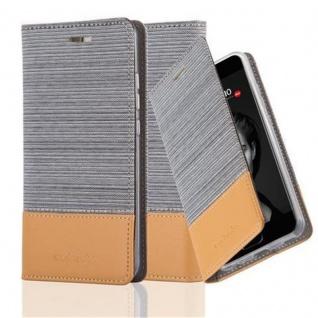 Cadorabo Hülle für Huawei P10 in HELL GRAU BRAUN Handyhülle mit Magnetverschluss, Standfunktion und Kartenfach Case Cover Schutzhülle Etui Tasche Book Klapp Style