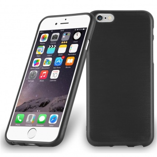Cadorabo Hülle für Apple iPhone 6 PLUS / iPhone 6S PLUS - Hülle in SCHWARZ ? Handyhülle aus TPU Silikon in gebürsteter Edelstahloptik (Brushed Design) - Ultra Slim Soft Backcover Case Bumper