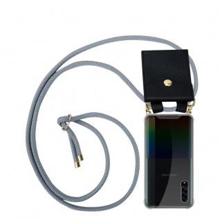 Cadorabo Handy Kette für Samsung Galaxy A90 5G in SILBER GRAU Silikon Necklace Umhänge Hülle mit Gold Ringen, Kordel Band Schnur und abnehmbarem Etui Schutzhülle