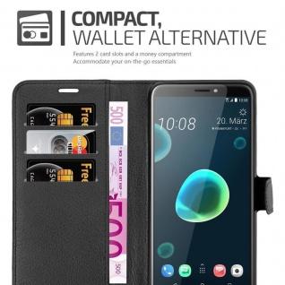 Cadorabo Hülle für HTC Desire 12 PLUS in PHANTOM SCHWARZ - Handyhülle mit Magnetverschluss, Standfunktion und Kartenfach - Case Cover Schutzhülle Etui Tasche Book Klapp Style - Vorschau 4