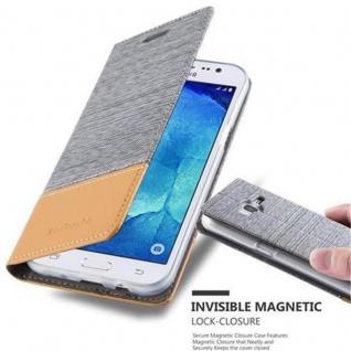 Cadorabo Hülle für Samsung Galaxy J5 2015 in HELL GRAU BRAUN - Handyhülle mit Magnetverschluss, Standfunktion und Kartenfach - Case Cover Schutzhülle Etui Tasche Book Klapp Style