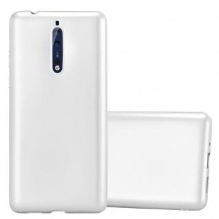 Cadorabo Hülle für Nokia 8 2017 in METALLIC SILBER - Handyhülle aus flexiblem TPU Silikon - Silikonhülle Schutzhülle Ultra Slim Soft Back Cover Case Bumper - Vorschau 1