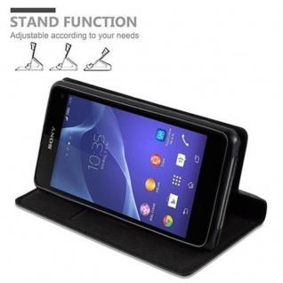 Cadorabo Hülle für Sony Xperia Z1 COMPACT in NACHT SCHWARZ - Handyhülle mit Magnetverschluss, Standfunktion und Kartenfach - Case Cover Schutzhülle Etui Tasche Book Klapp Style - Vorschau 5