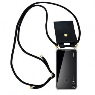 Cadorabo Handy Kette für Huawei P20 LITE in SCHWARZ ? Silikon Necklace Umhänge Hülle mit Gold Ringen, Kordel Band Schnur und abnehmbarem Etui ? Schutzhülle