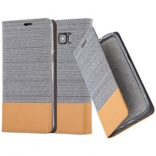 Cadorabo Hülle für Samsung Galaxy S8 in HELL GRAU BRAUN - Handyhülle mit Magnetverschluss, Standfunktion und Kartenfach - Case Cover Schutzhülle Etui Tasche Book Klapp Style