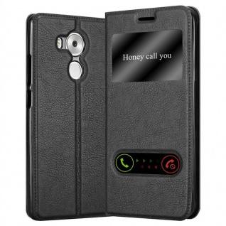 Cadorabo Hülle für Huawei MATE 8 in KOMETEN SCHWARZ - Handyhülle mit Magnetverschluss, Standfunktion und 2 Sichtfenstern - Case Cover Schutzhülle Etui Tasche Book Klapp Style
