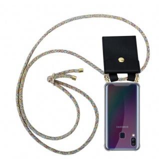 Cadorabo Handy Kette für Samsung Galaxy A40 in RAINBOW - Silikon Necklace Umhänge Hülle mit Gold Ringen, Kordel Band Schnur und abnehmbarem Etui ? Schutzhülle