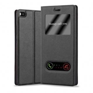 Cadorabo Hülle für Huawei P8 in KOMETEN SCHWARZ ? Handyhülle mit Magnetverschluss, Standfunktion und 2 Sichtfenstern ? Case Cover Schutzhülle Etui Tasche Book Klapp Style