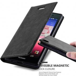 Cadorabo Hülle für Huawei P7 in NACHT SCHWARZ - Handyhülle mit Magnetverschluss, Standfunktion und Kartenfach - Case Cover Schutzhülle Etui Tasche Book Klapp Style