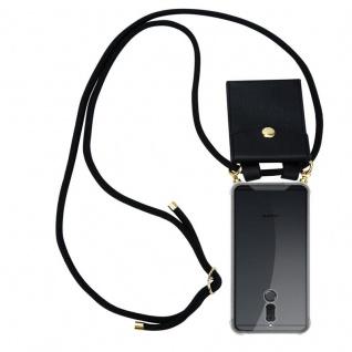 Cadorabo Handy Kette für Huawei MATE 10 / NOVA 2i in SCHWARZ - Silikon Necklace Umhänge Hülle mit Gold Ringen, Kordel Band Schnur und abnehmbarem Etui ? Schutzhülle