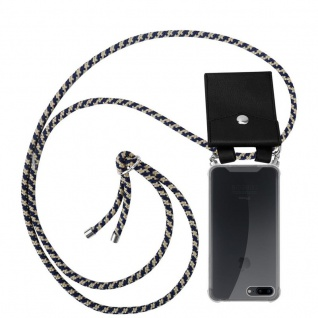 Cadorabo Handy Kette für Apple iPhone 8 PLUS / 7 PLUS / 7S PLUS in DUNKELBLAU GELB Silikon Necklace Umhänge Hülle mit Silber Ringen, Kordel Band Schnur und abnehmbarem Etui Schutzhülle