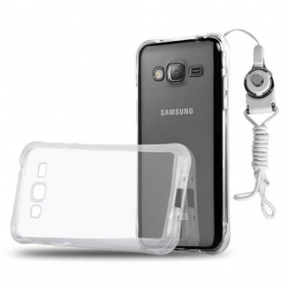 Cadorabo Hülle für Samsung Galaxy J1 2016 - Hülle in KOMPLETT TRANSPARENT ? Handyhülle aus TPU Silikon mit Schlaufe im Small Waist Design - Silikonhülle Schutzhülle Ultra Slim Soft Back Cover Case Bumper