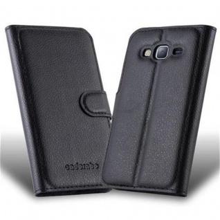 Cadorabo Hülle für Samsung Galaxy J3 2015 in PHANTOM SCHWARZ Handyhülle mit Magnetverschluss, Standfunktion und Kartenfach Case Cover Schutzhülle Etui Tasche Book Klapp Style - Vorschau 2
