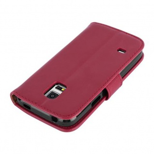 Cadorabo Hülle für Samsung Galaxy S5 MINI / S5 MINI DUOS in WEIN ROT ? Handyhülle mit Magnetverschluss, Standfunktion und Kartenfach ? Case Cover Schutzhülle Etui Tasche Book Klapp Style - Vorschau 4