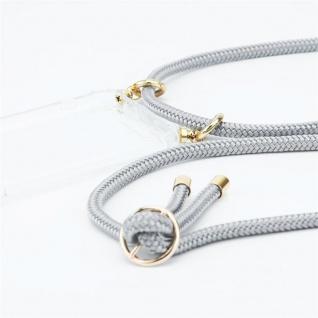 Cadorabo Handy Kette für OnePlus 5T in SILBER GRAU Silikon Necklace Umhänge Hülle mit Gold Ringen, Kordel Band Schnur und abnehmbarem Etui Schutzhülle - Vorschau 3